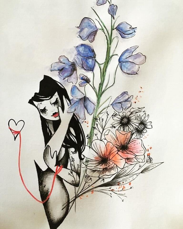 návrh na tetovanie kvety