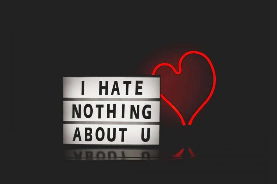 obrázok so svietiacou tabuľou s nápisom i hate nothing about you