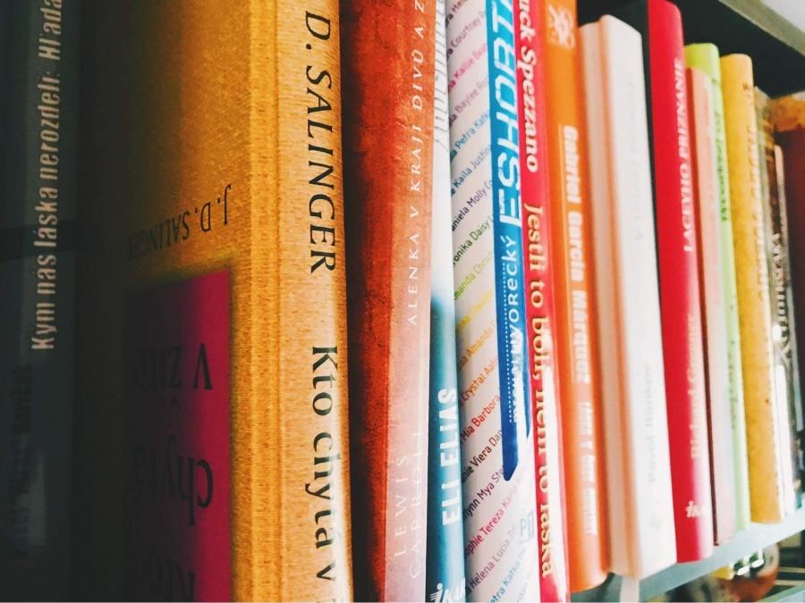 knihy v knižnici